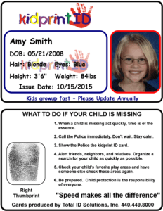 ID badge featuring either side on top and bottom. The first side shows the child's name, date of birth, and vital statistics, and a photograph. The reverse side shows a thumbprint and a guide for what to do if your child goes missing.